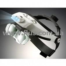 Лупа бинокулярная налобная с LED подсветкой 1,0х 1,5х 2,0х 2,5х 3,0х 3,5x 4,0х 4,5х 5,0х 5,5х 6,0х, (MG-81001-H)