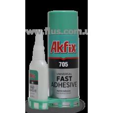 """Akfix 705, гелиевый  клей с активатором(50г + 200г), Турция.  Предназначен для склеивания дерева, резины, МДФ, большинства пластиков, кожи и т.п. """""""