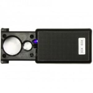 Лупа Magnifiers 9881 выдвижная с LED подсветкой и ультрафиолетовой лампой, 30Х21мм+ 60Х12мм