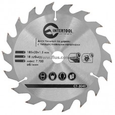 Диск пильный по дереву с твердосплавными напайками 185x20x1,5 мм; 18 зубьев INTERTOOL CT-3040