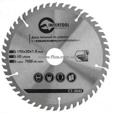 Диск пильный по дереву с твердосплавными напайками 190x30x1,5 мм; 50 зубьев INTERTOOL CT-3042