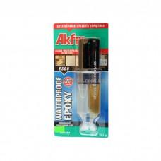 Клей эпоксидный в шприцах Akfix E340, (28, 4 г). Предназначен для склеивания стекла, фарфора, керамики, дерева, стали, алюминия, оргстекла, камня, мрамора, бетона.  Время высыхания - 30мин.
