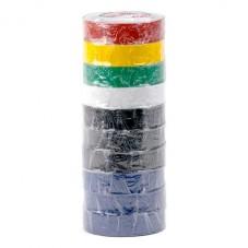 Лента изоляционная 0,15 мм x 17 мм x 15 м цветная (упаковка 10 шт) INTERTOOL IT-0019
