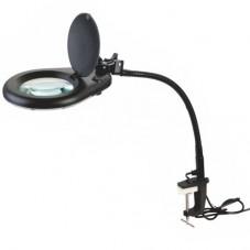 Настольная лупа-лампа ZD-129B, 5Х-130мм с LED подсвтекой на струбцине
