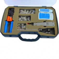 Набор, тлф. инстр. обжим. (RJ45, 12, 11) + тестер + съёмники в пласт. коробке (K-89-9222)