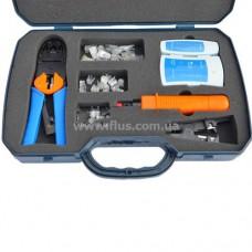Набор, тлф. инстр. обжим. (RJ45, 12, 11) + тестер + съёмники в пласт. коробке (K-89-9223)