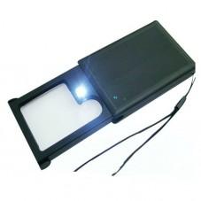 Лупа карманная MG21015 с LED подсветкой 3X,6Х