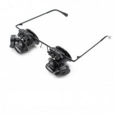 Ювелирные стеклянные очки MAGNIFIER 9892A-II с Led подсветкой 20x увеличением