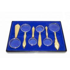 Подарочный набор ручных луп с золотым напылением в пластиковом кейсе Magnifier18154