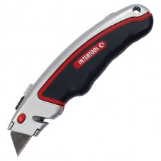 Нож с выдвижным трапециевидным лезвием, металлический корпус, прорезиненный. INTERTOOL HT-0516