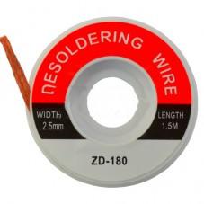 Лента для удаления припоя, 2,5мм, катушка 1,5м (ZD-180)