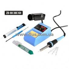 Набор для пайки с паяльной станцией ZD-98 30C, припой, оловоотсос, комплект жал
