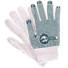 Перчатка хлопчатобумажная трикотажная с резиновым вкраплением с одной стороны (ПВХ зеленая) INTERTOOL SP-0133
