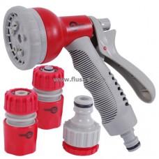 Пистолет-распылитель для полива 8-ми функциональный (центральный, туман, душ, угловой, полный, проливной дождь, конический, плоский.) + Адаптер универ INTERTOOL GE-0002