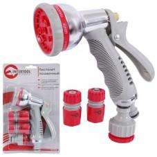 Пистолет-распылитель для полива хромированный 8-ми функциональный (центральный, туман, душ, угловой, полный, проливной дождь, конический, плоский.) + INTERTOOL GE-0005