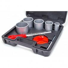 Набор корончатых сверл для плитки 5 ед. 33-83 мм, вольфрамовое напыление + напильник и чемодан INTERTOOL SD-0428