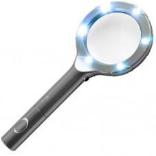 Ручная лупа с LED подсветкой, 2X увеличение, диаметр 90 мм, Magnifier 8B-3