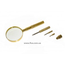 Лупа ручная в металлическом корпусе с набором отверток в ручке, 5X увеличение, диаметр 65 мм, Magnifier 18148