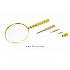 Лупа ручная в металлическом корпусе с набором отверток в ручке, 3X увеличение, диаметр 90 мм, Magnifier 18150
