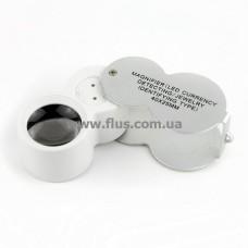 Лупа карманная ювелирная с LED подсветкой и ультрафиолетом, 40X 25мм, Magnifier 9888