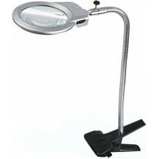 Настольная лупа LED подсветкой на прищепке, 2.5X+5X увеличение, диаметр 90+22 мм, Magnifier 15120-A