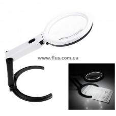 Настольная лупа LED подсветкой, 2X+5X увеличение, диаметр 120+28 мм, Magnifier 3B-1C