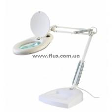 Настольная лампа-лупа ZD-129, 5Х-130мм с LED подсветкой на подставке